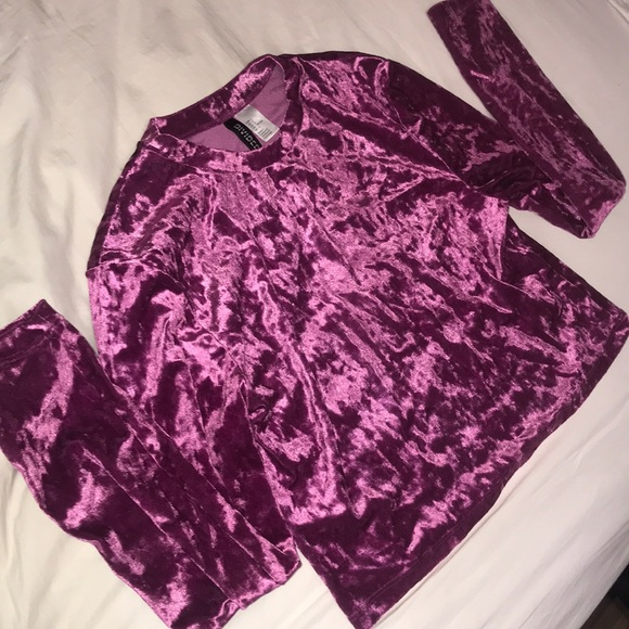 Divided Tops - Velvet Purple Long Sleeve Shirt H&M  Size Large